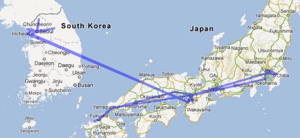 Travel in Japan and Korea so far for the Final Straw filming (with more to go still)