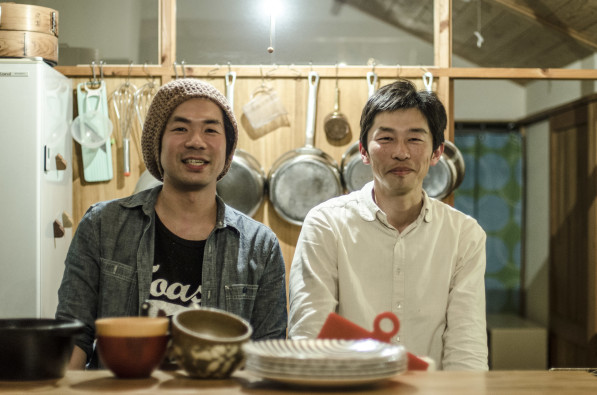 Chef Shinnosuke and natural farmer Murakame at their joint restaurant venture in Itoshima, Japan (photo, P.M. Lydon / Final Straw)