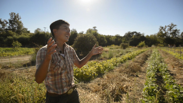 A still image from Final Straw filming with head farmer Kristyn Leach of Namu Farm in San Francisco Bay Area