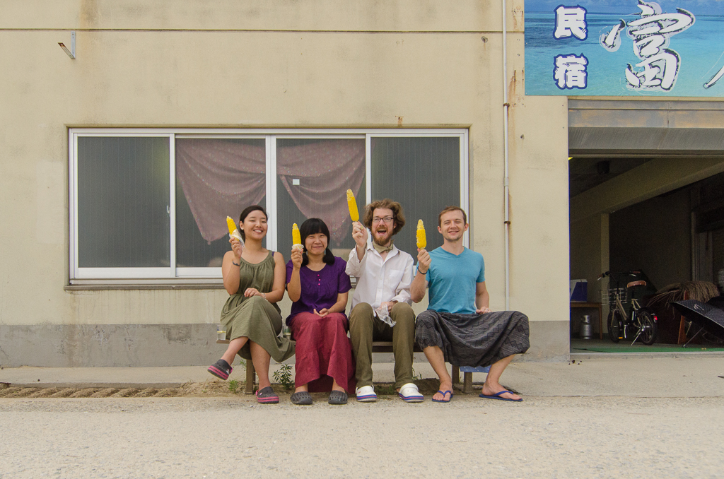 Song Yi, Suhee, Patrick, and Johann with sweet and juicy Megijima corn. donated by the locals.