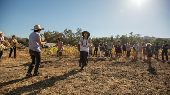 Drumming and dancing at the Korean Harvest Festval (Chuseok) at Namu Farm in California (Photo: P. Lydon | Final Straw)
