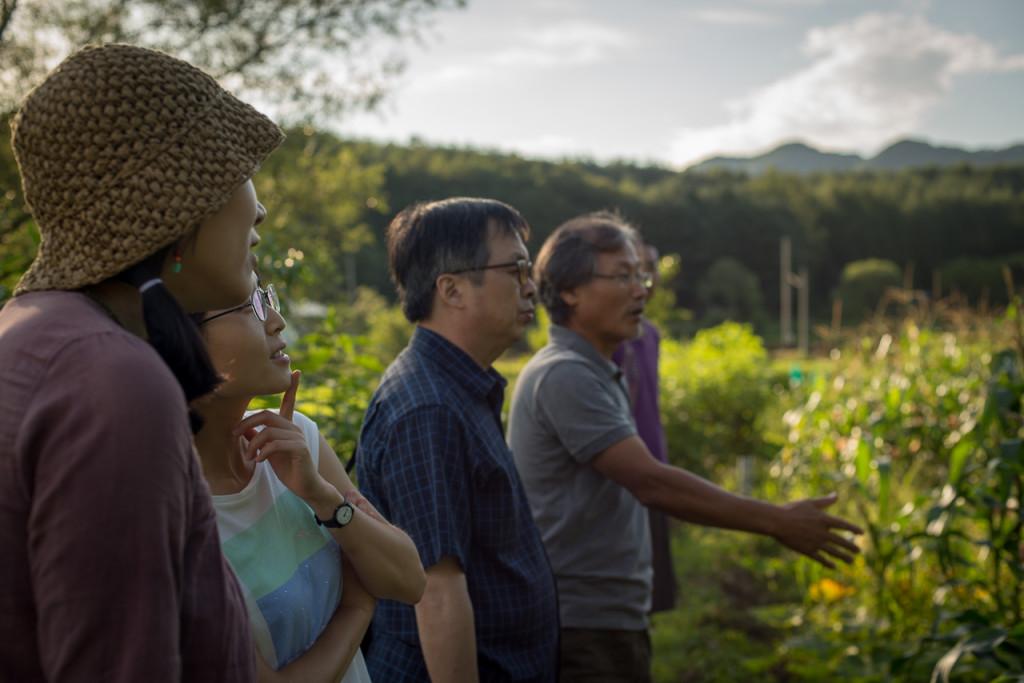 At Seonghyun Choi's natural farm for a pre-screening tour in Hongcheon