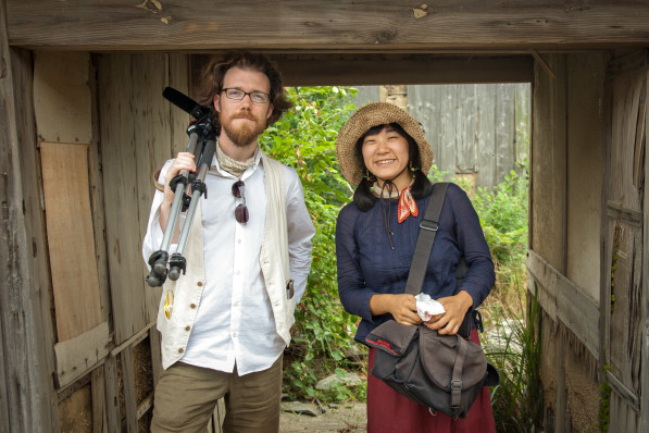 Patrick and Suhee during filming of a community project in Megijima, Japan